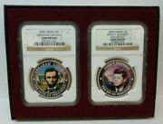 2009 Liberia 5 Abraham Lincoln And John F. Kennedy Ngc Gem Proof 2 Coin Set G457