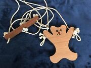 Antique Vintage Wooden Brown Bear Hanging Toy Hang On A Door Moves Up And Down