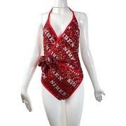 Moschino Siren Hollywood Stencils Sequins One-piece Swimsuit In Bright Red
