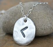 Rune Stone Necklace- Handmade Fine Silver Initial Charm- Knowledge Protection
