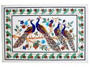 30 X 48 Inches Peacock Pattern Inlay Dining Table Top White Marble Wall Scenery