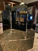 Lg Vintage Antique Victorian Mirror Trifold Wall Table Beveled Vanity Makeup