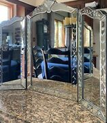 Ornate Victorian Venetian Mirror Trifold Etched Wall Table Beveled Vanity Makeup