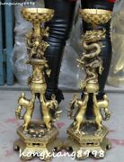 26 China Pure Bronze Dragons Loong Dog Animal Candle Holder Candlestick Pair