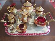 Vintage Murano Glass Tea Set With Etched Mirror Tray