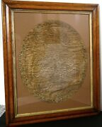 Antique Georgian Needlework Map Sampler Of England And Wales In Period Frame C1800