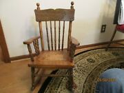 Vintage Antique Wood Childand039s Rocking Chair With Cane Seat-turned Wood Spindles