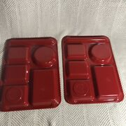 Pair Of Vintage Texas Ware Divided Compartment Cafeteria Trays Bright Red