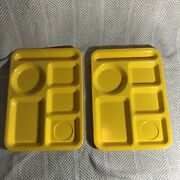 Pair Of Vintage Texas Ware Divided Compartment Cafeteria Trays Bright Yellow