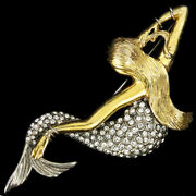 Mosell Sterling Gold And Pave Reclining Mermaid Combing Her Hair Pin