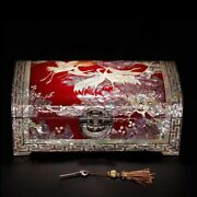 Lacquer Tray With Mother In Pearl Snail Shell Jewelry With Lock Chinese Style