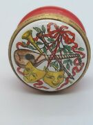 Halcyon Days Enamel Pill Box Tragedy/comedy Music Instruments As Is