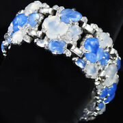 Trifari Philippe Pave And Blue And White Moonstone Fruit Salads Link Bracelet