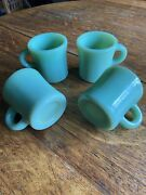 4 Vintage Fire-king Jadeite Heavy C Handle Small Restaurant Glass Double Stamp