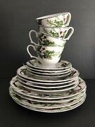 Retired Charter Club China Winter Garland Lot Of Four 4 Piece Place Settings Exc