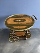 Antique Vtg Italy Bar Tea Cart Marquetry Inlaid Wood Serving Drop Leaf Wine Rack