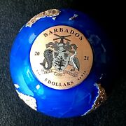 Barbados 2021 Blue Marble Planet Earth 3 Oz Silver R/ Gold Plated Spherical Coin