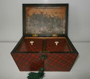 Fabulous Quality Antique Early Victorian Original Tartan Ware Tea Caddy C1837-40