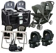 Baby Twins Double Stroller With 2 Car Seats Playard 2 Chairs Bag Newborn Combo