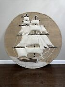 """Vintage 70s Don Freedman 3d Textile Wall Art Large Ship Tapestry Round 42"""""""