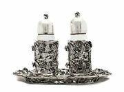 Italian 925 Sterling Silver Hand Wrought Rose Salt And Pepper Shaker And Tray