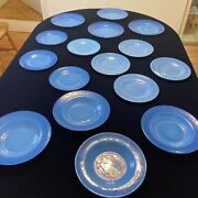 Murano Italy Effetre Glass Opalescent Blue Plates Dishes Lot Of 16 4 Settings