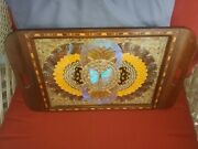 Butterfly Wing Serving Tray W Brazilian Rosewood Inlaid - Blue Morpho - Vintage