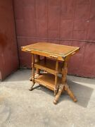 1940s Antique Beveled Glass Top Bakery Table Display General Store Mercantile