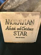 Vintage Moravian Advent And Christmas Star 22 W/ Cord And Light