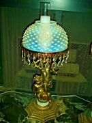 Fenton French Hobnail Opalescent Cherub Lamp Rare And Old