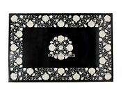 36 X 48 Inches Mop Inlay Work Dinette Table Top Black Marble Living Room Table