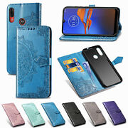 For Motorola Moto G9 Plus Play E6 G Pro G8 Power Patterned Leather Wallet Cover