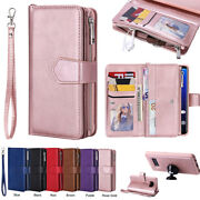 Galaxy Note20 S9 S10+ S20 For Samsung Removable Leather Zipper Wallet Case Cover