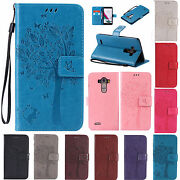 For Lg Tree Pattern Leather Card Wallet Stand Protective Case Cover Skin