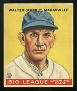 1933 Goudey 117 Rabbit Maranville Near Perfectly Centered Best Condition On Ebay