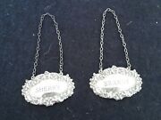 Beautiful 70s Vintage Sterling Silver Sherry And Brandy Decanter Labels Hallmarked