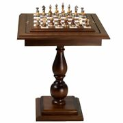 Beech Wood Chess Table With Alabaster Top And Stylized Chess Set
