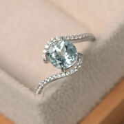Solide 14k Or Blanc 1.65 Ct Rond Gemme Diamant Vrai Aigue-marine Bague Taille N