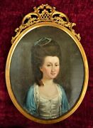 Delightful Antique 18th Century Oval Portrait Of An Aristocratic Young Lady.