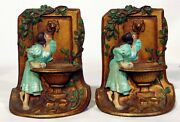 Art Deco Rebecca At The Well Water Fountain Painted Cast Iron Bookends