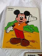 3 Vtg Wood Puzzle Playskool Mickey Mouse Donald Duck Dopey Snow White 190 02 05