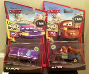 Disney Pixar Cars Lights And Sounds Purple Ramone And Mater Diecast New In Box