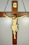 1880- 1910's Nearly 5' Tall Antique Solid Wood Hand Carved Crucifix Jesus