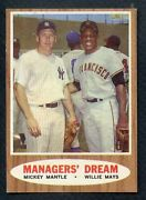 1962 Topps 18 Mickey Mantle Willie Mays Ex-mt Centered 405314 Kycards