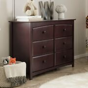 6 Drawer Double Dresser Chest Cabinet Brown Wood Bedroom Furniture Storage Home