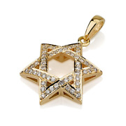 18k Yellow Gold Star Of David Necklace Pillowed Woven Diamond Studded 18.7mm New