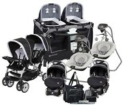 Baby Double Stroller With 2 Car Seats Deluxe Twins Combo Playard 2 Swings Bag