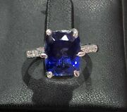 14k White Gold Natural Blue Tanzanite And Diamond Cushion Sizable Women Ring--s68