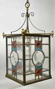 Antique Brass Leaded Stained Glass Foyer Chandelier Circa 1920and039s