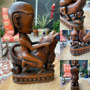 Amazing Wood Statue Of Diety Riding Horse/dog And Sitting/suckling Kids - Original